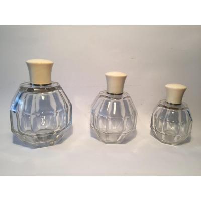 Three Art Deco Perfume Bottles. Crystal And Ivory.