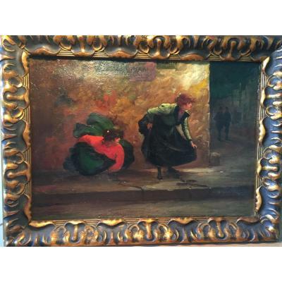 """night Scene In Paris. La Pisseuse "". Oil On Canvas. G. Vascon."