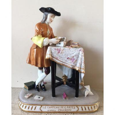 """""""the House Of Cards"""" According To Chardin. Porcelain From Paris. XIXth."""