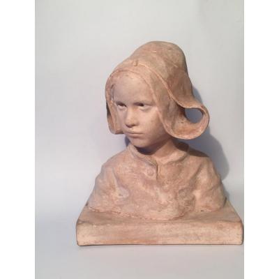 Ruth Milles. Young Breton Girl. Terracotta .