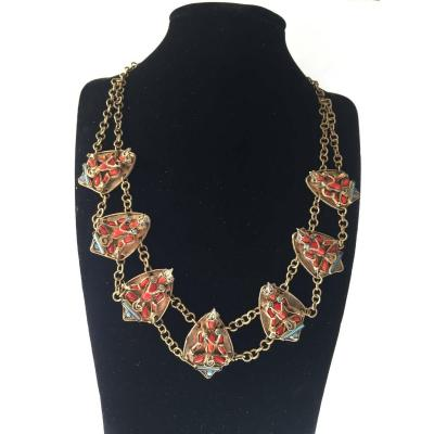 Couture Necklace. Golden Metal And Glass Paste.