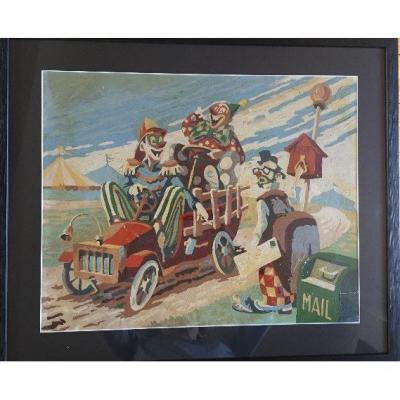 """""""three Clowns. By Car ! """". Oil On Paper."""