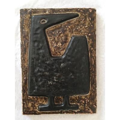 """""""cocotte"""". Enamelled Stoneware Plaque. J. Mogensen. Royal Copenhagen."""