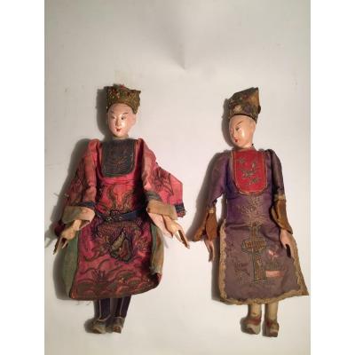 Couple Of Chinese Opera Dolls. Circa 1900.