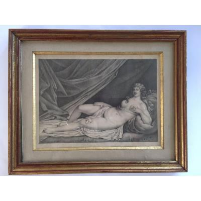 Mid XIXth pencil drawing on paper representing a naked woman lying down, her left hand on her breast.<br /> Good condition. Monogram lower right J. R.<br /> 24 x 18 cm (view).<br /> 32 x 26 cm with the frame.