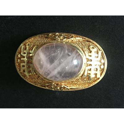 Broche. Vermeil Filigrané et Quartz Rose.
