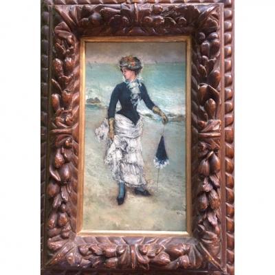 «Femme Sur la Plage» Huile Sur Toile. XIXème.