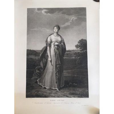 «Portrait de l'Impératrice Marie-Louise d'Autriche». Gravure d'après A. Godefroy.