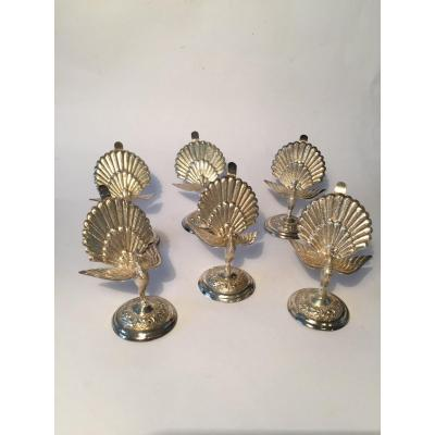 Set Of 6 Silver Name Badges. Peacocks.