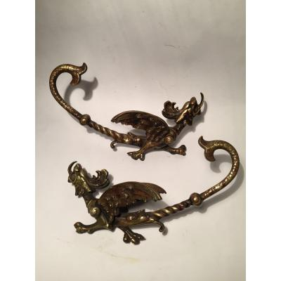 XIXth Ornamental Bronzes. Winged Dragons In The Spirit Of Edward. Hare.