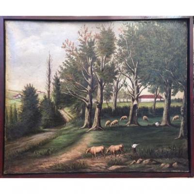 Pastoral Scene In Gascogne. XIXth. Naïve Oil On Canvas. Cortège.