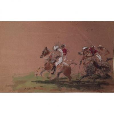 «polo Scene». Watercolor  By Pierre Olivier Dubaut