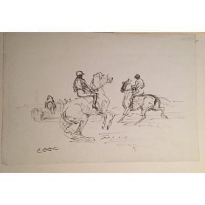 Study Of Cavaliers. Drawing By Pierre Olivier Dubaut.