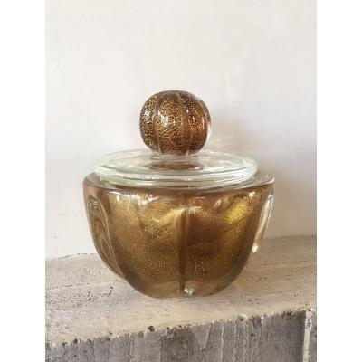 Gold Glitter Glass Box. Murano 1950s. Barovier & Toso.