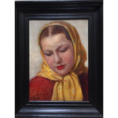 Portrait De Nadia Khodossievitch- Léger. Huile Sur Panneau. Charles Vasnier.