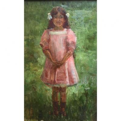 """little Girl  With A Pink  Dress"". Oil On Canvas. French School At The End Of The 19th Century."