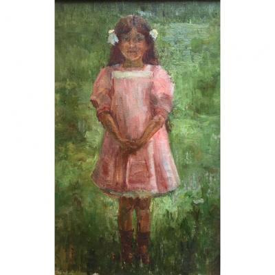 «Fillette à la Robe Rose». Huile Sur Toile. Ecole française fin XIXème.