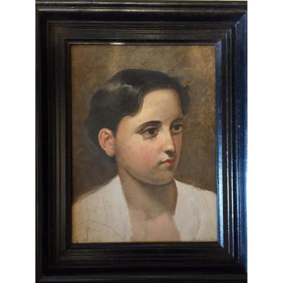 Portrait D'une Jeune Femme. Huile Sur Papier Cartonné.  Giovanni Bartolena.
