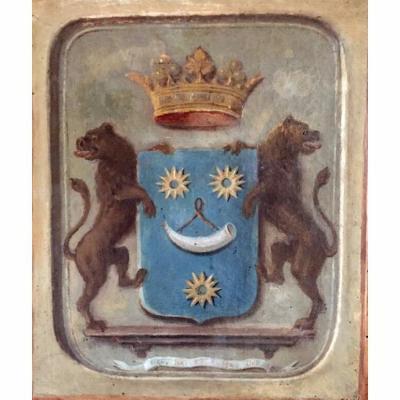 Huile Sur Toile. Armoiries / Blason. Héraldique. Molette. Gévaudan. Baronnie Languedoc. France. XIXème.