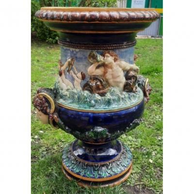 Grand Vase Balustre En Barbotine XIXème. Néréides Et Tritons. Thomas Sergent. Palissy.