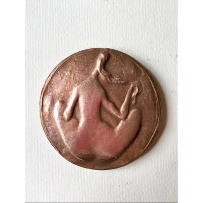 Commemorative Medal Of The Painter Renoir. Bronze. Female Nude. G. Lay.