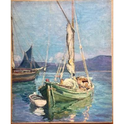 Mediterranean Stopover. Oil On Canvas. French School. Early XXth