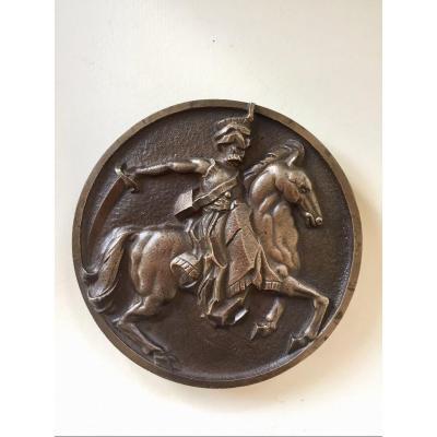 «Cavalier Prussien ou cosaque ?». Épais médaillon En Bronze. Début XXème.