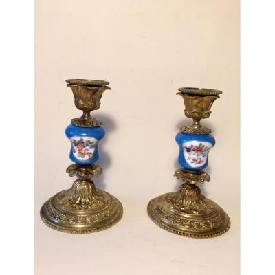 Pair Of XIXth Candlesticks In Bronze And Painted Porcelain.