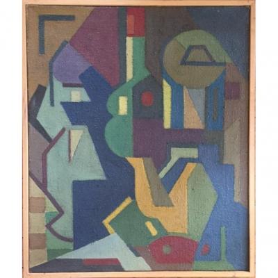 Cubist Still Life. Oil On Canvas. XXth. Raymond Guidot.