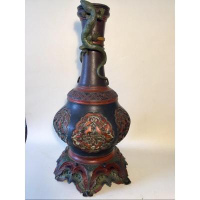 XIXth Lamp Base Vase. Orientalist Decor. Lizards. Polychrome Metal.