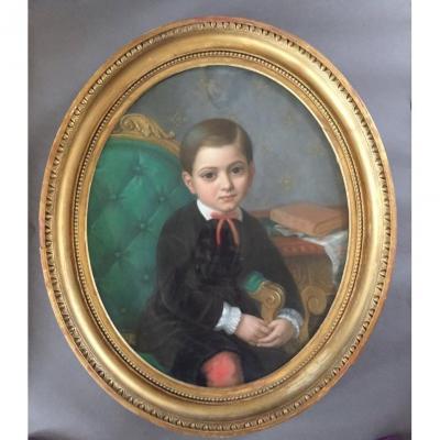 Portrait Of A Young Boy. Canvas Pastel. A. Carloni. 1866.
