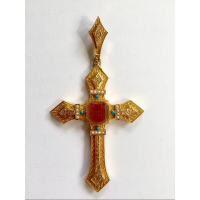 Large Reliquary Cross In Gold . France XIXth. Carnelian Cameo, Fine Pearls And Turquoise.