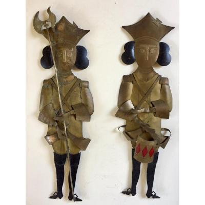 1950s Decorative Brass Silhouettes. 18th Century Uniform Soldiers.