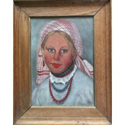 Portrait Of A Young Russian Peasant Woman. Oil On Canvas Panel. Evdokim Egoroff.