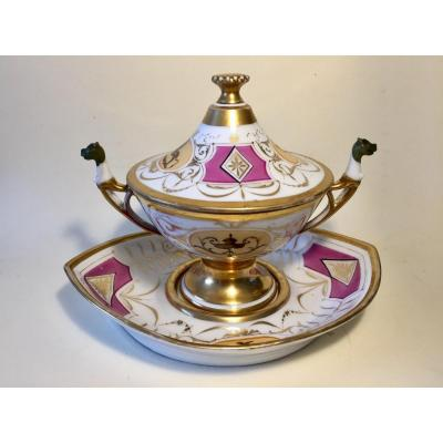 Empire Style Bouillon Bowl And Its Display. Porcelain Early XIXth.
