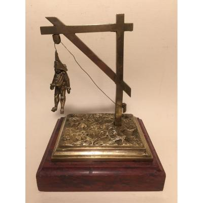 Punch Hanging From A Gallows. Bronze And Marble XIXth.