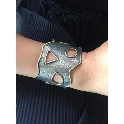 Modernist Cuff Bracelet In Silver. XXth.