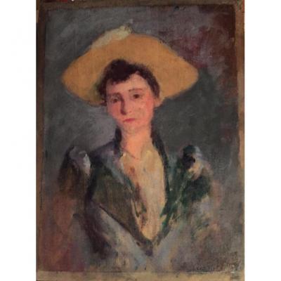 Portrait de Jeune Femme au Chapeau Jaune. Huile Sur Panneau. Ecole Française XIXème.