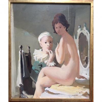 «Pierrot et Colombine». Huile Sur Toile. Jonathan Zutter.  Années 60.