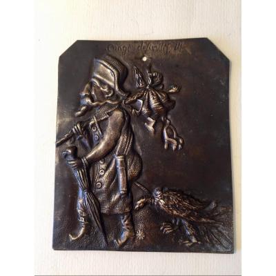 Humorous Bas-relief In Bronze. Exile Of Napoleon III. Around 1870.