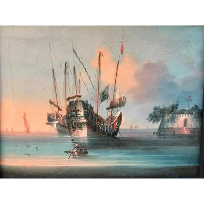 &quot;Junks in the port of Canton&quot;. Rare animated representation of Chinese boats on the Pearl River with a view of The Canton Fort. Framed oil on canvas.<br /> Canton School. China. End of the 19th century. Original canvas and frame. Needs some restorations.<br /> 28 x 21 cm without the frame.<br /> 37 x 30 cm with the frame