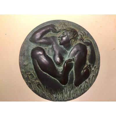 """""""La Chute"""".  Plaque bas-relief uniface En Bronze. Milieu XXème.  Francesco Giannone"""