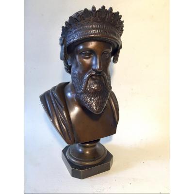 Buste De Darius 1er, Roi De Perse. Bronze XIXème.