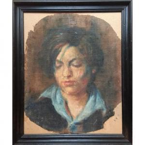 Portrait d'un jeune homme.  Huile Sur Toile. Début XXème.