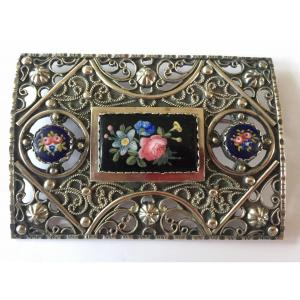 Large 19th Century Brooch In Silver And Painted Porcelain Cabochons.