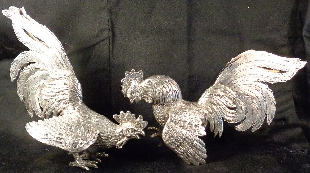 Fighting Cocks In Sterling Silver. Punches From Mexico