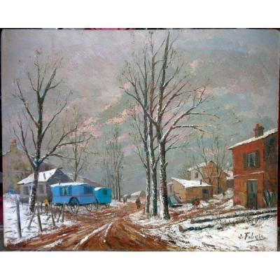 """Hsp. Edouard Febvre """"roulottes gitanes sous la neige"""""""