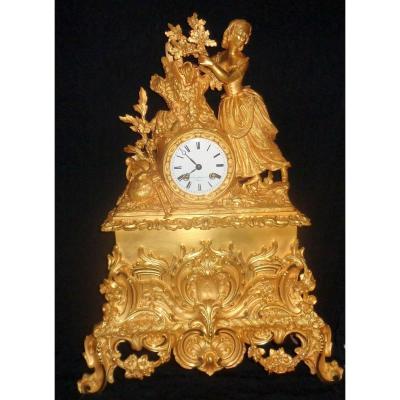 Large Charles X Gilt Bronze Clock: