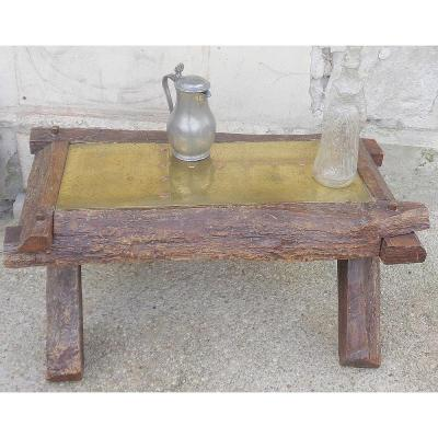 Neo-rustic Coffee Table In Oak, Iron And Brass From The 70s.