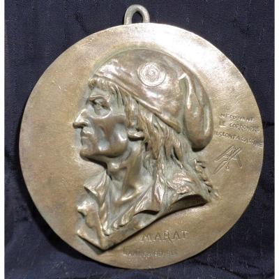 Bas relief antimaçonnique en bronze à l'image de Marat 1743/1793